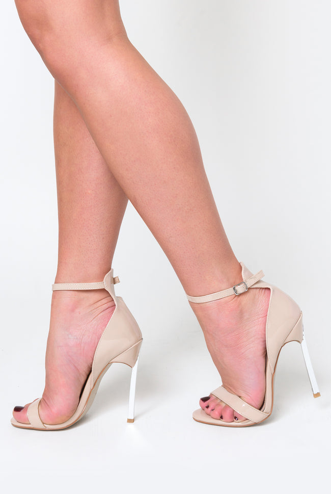39e0728f063 Harlow Barely There Metallic Heel In Nude Patent – Poised London