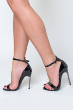 Harlow Barely There Metallic Heel In Black Patent