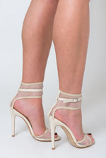 Rita Fishnet Heel In Nude Faux Leather