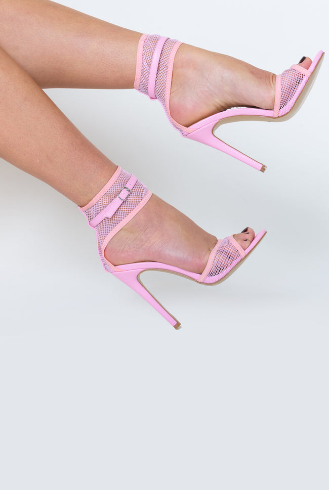 Rita Fishnet Heel In Pink Faux Leather