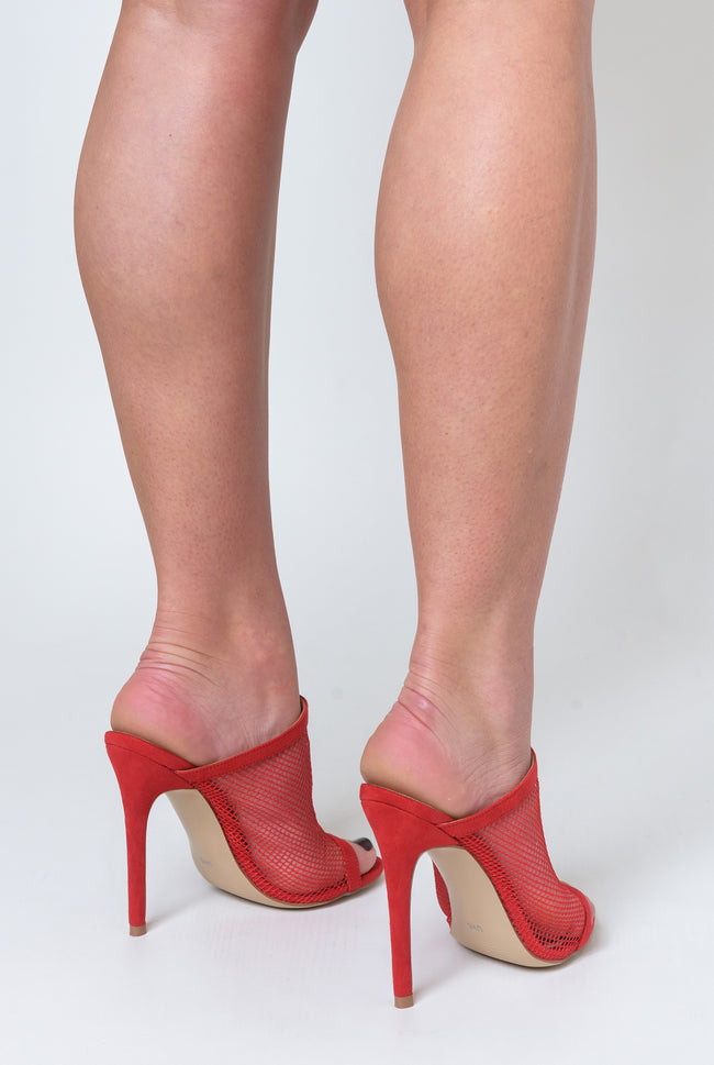 Primrose Fishnet Peep Toe Mule In Red Faux Suede