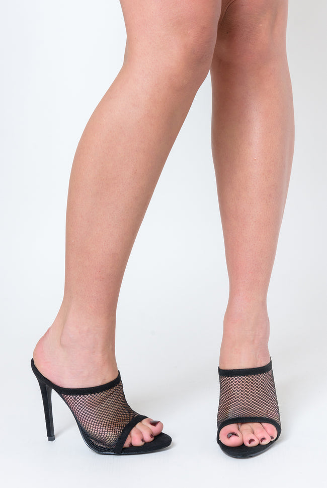 Primrose Fishnet Peep Toe Mule In Black Faux Suede