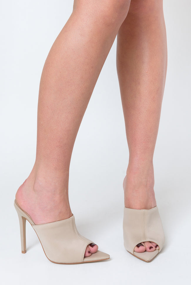 Kiera Pointed Peep Toe Mule In Nude Lycra
