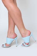 Perrie heeled Mule In Pale Blue Lycra