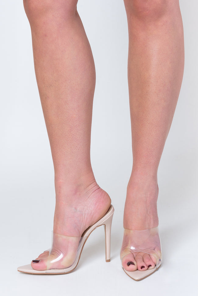 e1ad607c3f7b Hayden Perspex Peep Toe Mule In Nude Patent – Poised London
