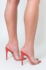 Hayden Perspex Peep Toe Mule In Red Patent