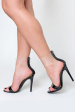 Torie Perspex Cuff Heel In Black Patent (as seen on Love Island's Georgia!)