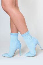 Jayla Pointed Toe Sock Boot Suede detail In Pale Blue Lycra