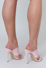 Perrie heeled Mule In Pale Pink Lycra
