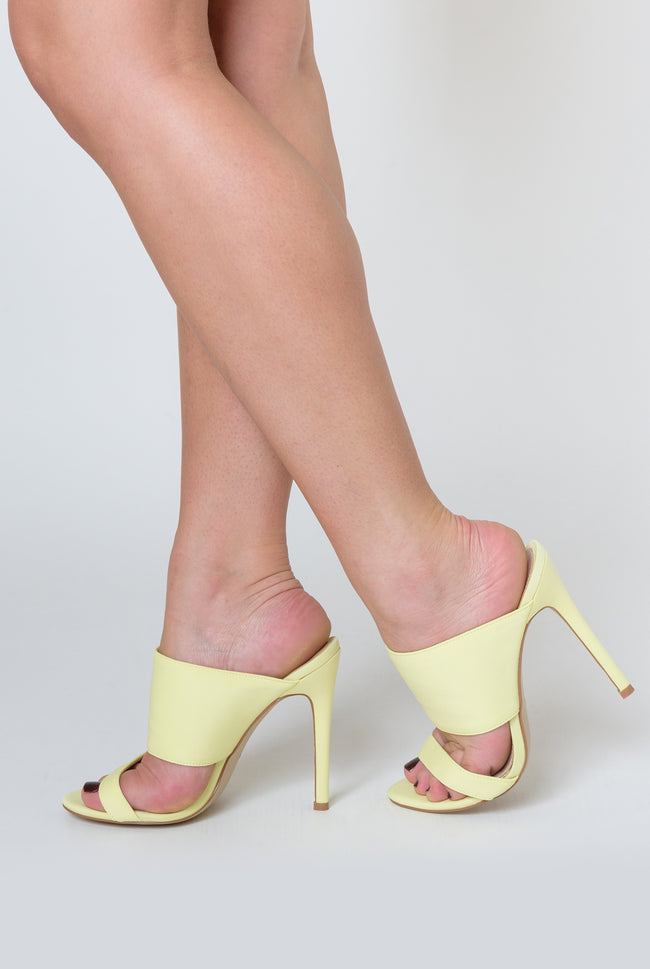 Perrie Heeled Mule In Lemon Lycra