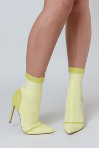 Jayla Pointed Toe Sock Boot Suede detail In Lemon Lycra