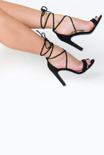 Scarlett Lace Up Square Block Heel In Black Faux Suede
