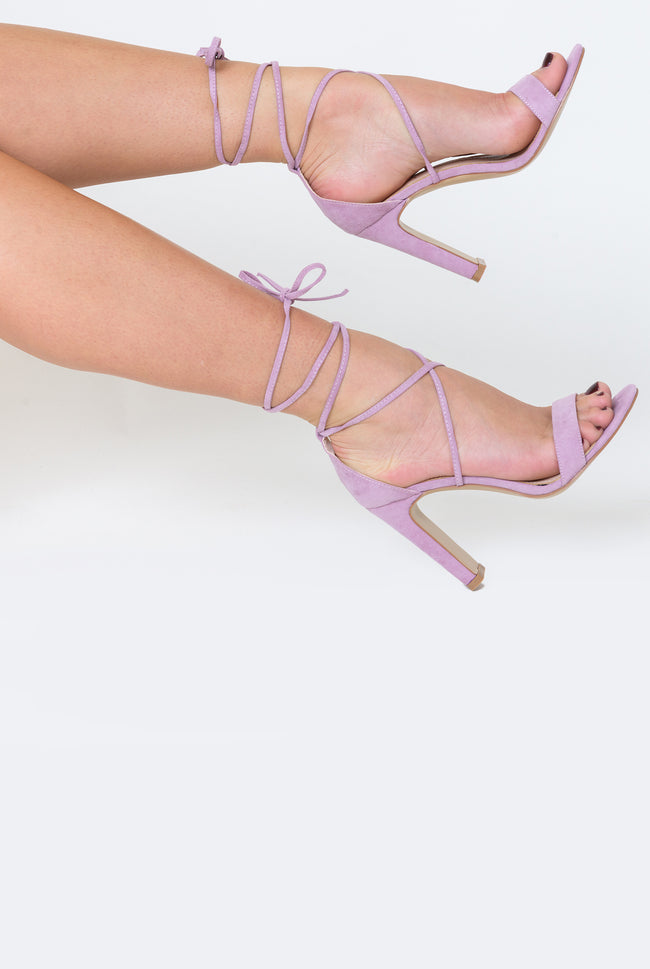 Scarlett Lace Up Square Block Heel In Lavender Faux Suede