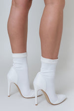 Jayla Pointed Toe Sock Boot Suede detail In White Lycra