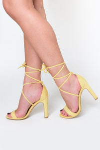 Scarlett Lace Up Square Block Heel In Lemon Yellow Faux Suede