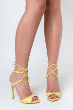 Nina Tie up Heel In Yellow Patent