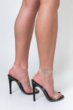 Tiffany Studded Perspex Heel In Black Faux Suede