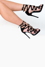 Zara Strappy Perspex Detail Stiletto Heels in Black Faux Suede
