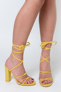 Willow Knot Detail Lace Up Block Heel In Yellow Faux Suede