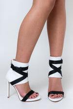 Olivia Buckle Stiletto Heels In White Lycra