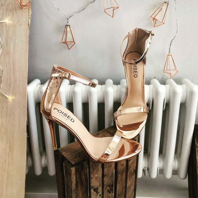 Abigail Two Strap Barely There Heels In Rose Gold Patent