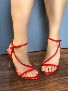 Aimee Barely There Strappy Heels in Red Patent Faux Leather