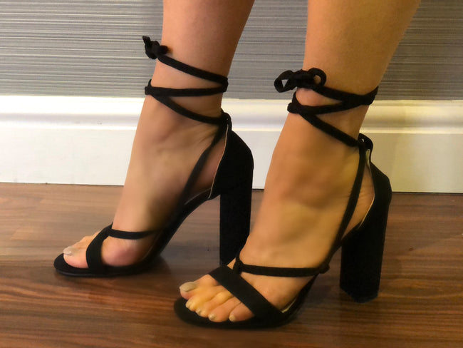 Layla Lace Up Block Heel in Black Faux Suede