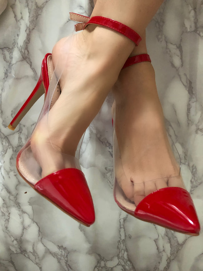 Nola Perspex and Red Patent Pointed Stiletto Court Shoes