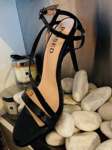 Aimee Barely There Strappy Heels in Black Patent Faux Leather