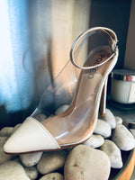 Nola Perspex and White Patent Pointed Stiletto Court Shoes