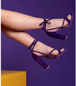 Layla Lace Up Block Heel in Purple Faux Suede