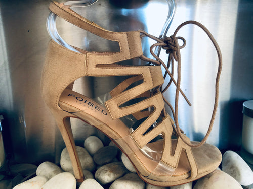 Zara Strappy Perspex Detail Stiletto Heels in Nude Faux Suede