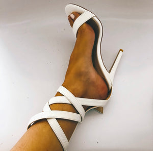 Chloe Multi-Strap Stiletto Heel Sandals in White Faux Leather