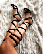 Cara Lace Up Perspex Heel In Black Faux Suede