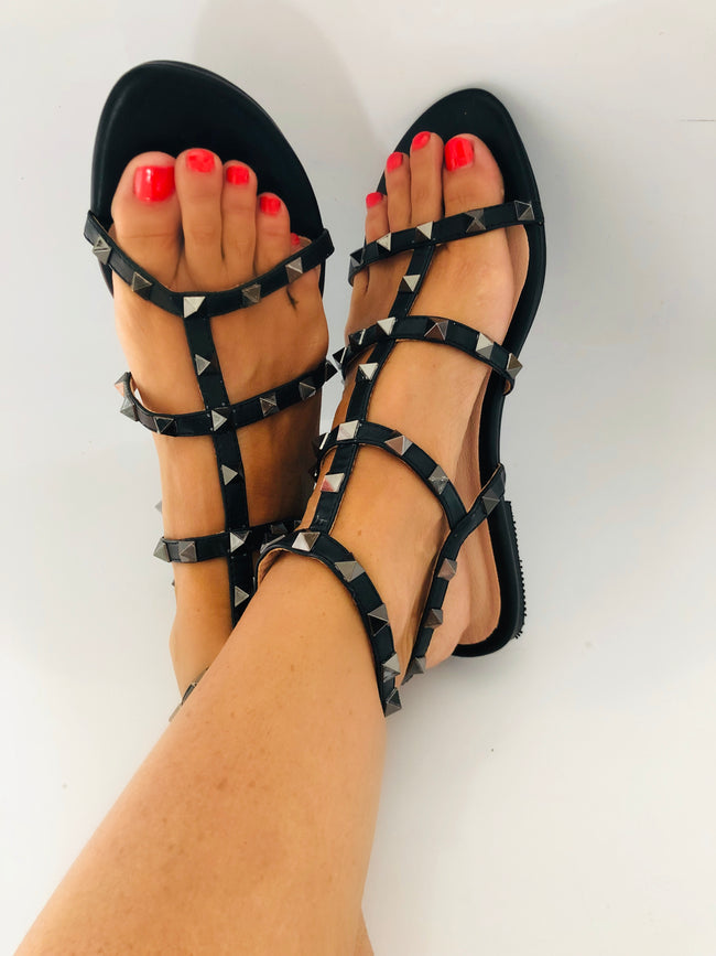 Uma Studded Flat Gladiator Sandals in Black Faux Leather