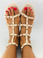 Uma Studded Flat Gladiator Sandals in Nude Faux Leather