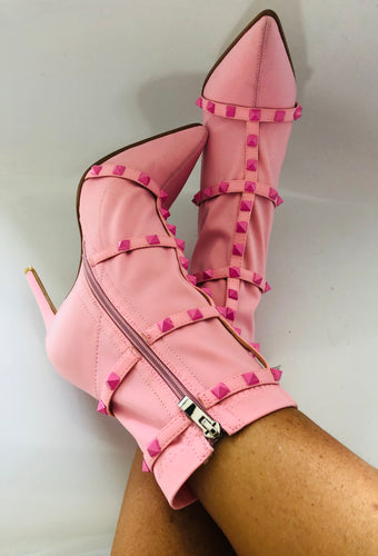 Ava Studded Stiletto Ankle Sock Boot in Pink Lycra