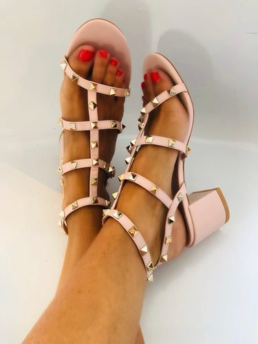 Oria Studded Mid Block Heel Sandals in Nude Faux Leather