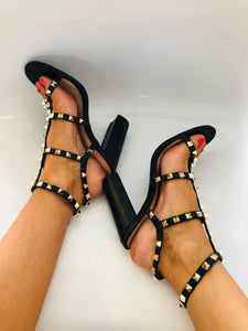 Lola Studded High Block Heel Sandals in Black Faux Leather