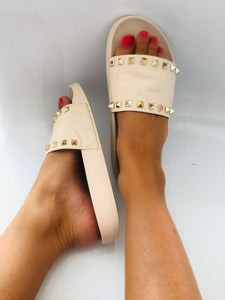 Lily Studded Slider in Nude Faux Leather