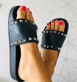 Lily Studded Slider in Black Faux Leather