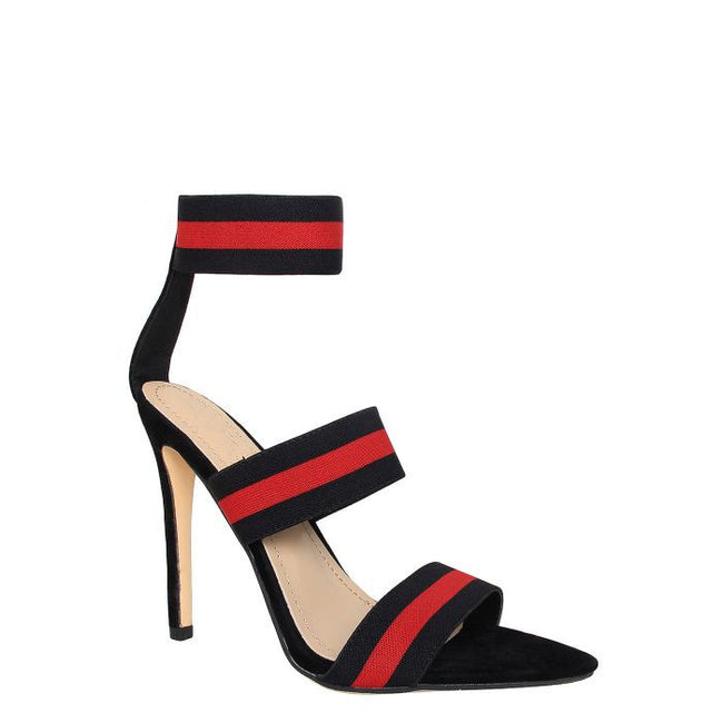 Miya Black & Red Strappy Pointed Toe Heels in Black Faux Suede
