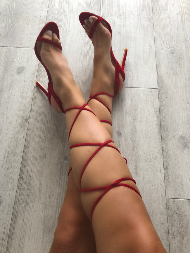 Sia Lace Up Heeled Sandals in Red Faux Suede