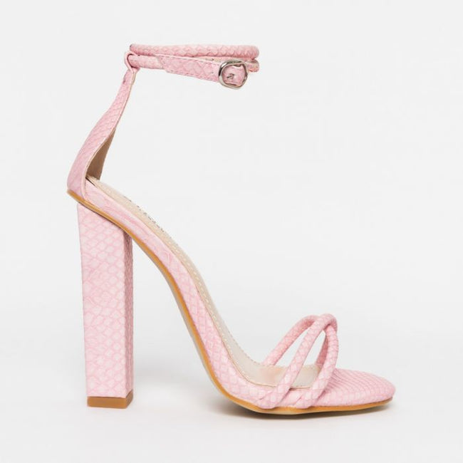 Tasha High Block Heels In Pink Faux Snakeskin Effect