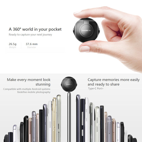 Air Panoramic 360 Camera 3K HD Mini Camera Dual Wide Lens VR 360 Video Camera for OPPO Huawei LG Andriod Smartphones