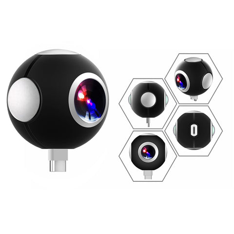 Mini HD Panoramic 360 Camera Wide Dual Angle Fish Eye Lens VR Video Camera for Smartphone Type-c USB Sport & Action Cam