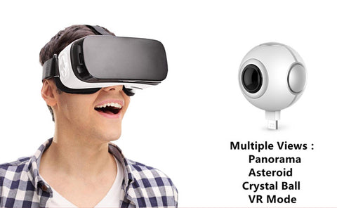 720 360 Degree Panoramic Camera VR Camera HD Video Dual Wide Angle Lens Real Time Seamless Stitching for Android Smartphone
