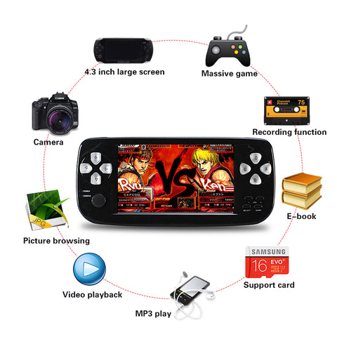 2018 New 4.3 Inch HD Game Console 32 Bit Portable Handheld Game Players For GBC/SFC/CP1/NEO/GEO Format 500+ Inner game