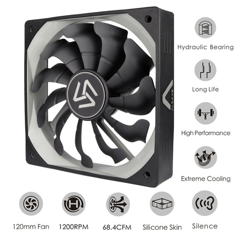 S-120 Computer Cooler Fan 120mm High Air Flow DC 12V 1200RPM 3pin Cooling Fans for PC Case / CPU Cooler / Water Cooling