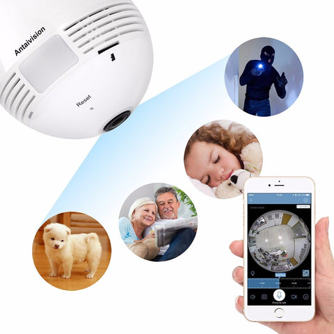 New Panoramic Camera 960P Wifi 360 degree Wireless Bulb Light IP Camera 1.3MP Home Security VR Camera